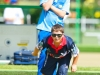 Lachlan Morison follows his bowl up the green